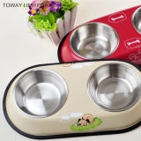 Quality Stainless steel Printing Bones Double Pet Feeder Bowls