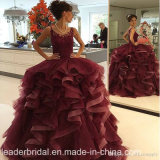 Wine Lace Quinceanera Ball Gowns Ruffles Organza Prom Dress E1789