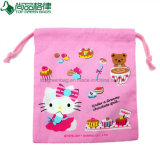 Pretty Full Printing Drawstring Cotton Pouch Cute Cotton Gift String Bag
