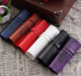 Fashion Retro Leather Rolling Pencil Case