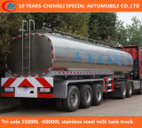 Tri-Axle 30000L Stainless Steel Milk Tank Truck, Milk Storage Tanks