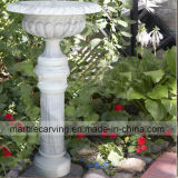 White Marble Flower Planter with High Pillar