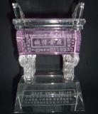 Business Gift Crystal Glass Craft Pink Crystal Tripod (KS14030)