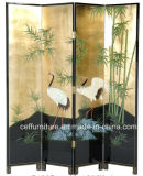 Hand Painted Lacquer Bamboo Crane Folding Divide Screen