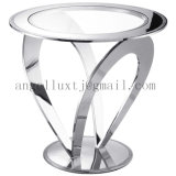 Modern Hotel Lobby Furniture Indoor Unfolded Stainless Steel Glass Table Coffee Flower Desk