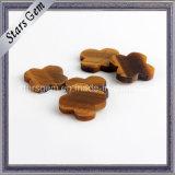 Natural Tiger′s Eye Stones for Four Leaf Clover Pendant