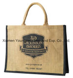 Fashion Burlap Handbag Wholesale Custom Printed Promotional Large Jute Carrier Bag Reusable Jute Shopping Tote Bags