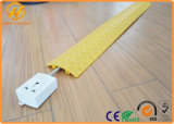 Yellow / Black Plastic Over Floor Cord 1 Channel Cable Protector for Electric Wire
