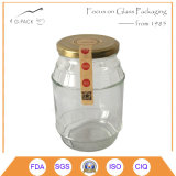 940ml Glass Honey Bottle with Metal Cap, Logo, Label Can Be Printed