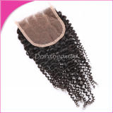 Indian Remy Human Hair Kinky Curly 3 Parting Lace Closure