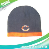 100% Acrylic Plain Knitted/Knit Winter Hat Beanies with Embroidery (017)