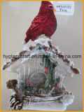 Hot Sale Glass Christmas House with Bird