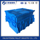 56L Moving Nestable Plastic Tote Box with Attached Lid
