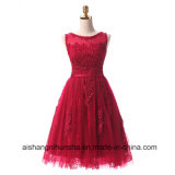 Wine Red Lace Embroidery Sleeveles Prom Dress