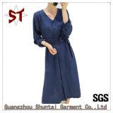 Customized Women′s Long Fork Dress with Belt