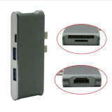 6 in 1 dual 2 USB 3.1 Type C Charging Port + 4K HDMI Adapter + 2 USB 3.0 Ports + Micro SD/SD Card Reader Hub for New MacBook