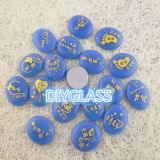 Engraved Decorative Blue Glowing Stone