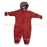 Solid Red Hooded PU Jumpsuit