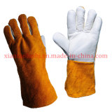 White Grain and Split Cow Leather Welding Gloves