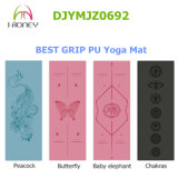 PU Polyuethane Yoga Mat Laser Engrave Pattern Great Grip Wet and Dry