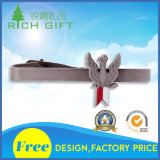Customized Unique Logo Metal Alloy Silver Plating Tie Clips with Popular Printing Logo