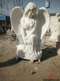 White Marble Angel Sculpture Hand Carved Female Marble Statues