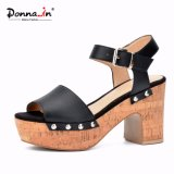 Lady Rivet Leather Shoes High Heels Women Cork Platform Sandals