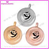 Memorial Necklace Round Pendants with Fox Pattern
