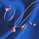 Free Sample Silver Color Christmas Apple Baby Jewelry Set (60911)