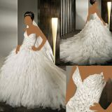 Beads Bridal Ball Gown Feather Tulle Wedding Dresses W9041