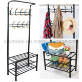 Metal Hat and Coat Clothes Shoes Hall Steel Pipe Stands Hanger Shelf Stand Rack