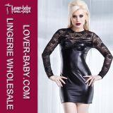 Black Wetlook Stretch Lace Mini Night Womens Dresses (L2384)