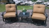 Aluminum Swivel Glide Chat Patio Set Furniture Saving Space Country Club Chat Outdoor Garden Furniture Set