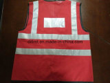 Safety Vest Red 100%Polyester Knitting Fabric with ID Pocket