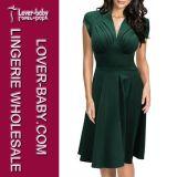 Elegant Woman Casual Sleeveless Plus Size Dress (L36103-5)