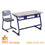 MDF Plastic Double Student Desk with Two Chairs