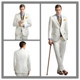 OEM Factory Price Customized Men′s Cashmere Wool White Suit Wedding Suit