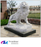 Granite Statue Hand-Carved Animal Stone Lion Sculpture