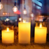 Hot Sale Glass Cup Candle with Moving Flame