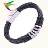 Stlb-17011011 Fashion Leather Silver Bracelet Mens Jewelry