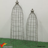 Set 2 Tall Rustic Grey Metal Wire Mesh Dome for Planters
