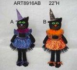 """22""""H Halloween Decoration Black Cat -2asst"""
