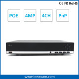 4CH 4MP P2p Remote Real Time Monitoring Poe NVR