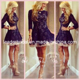 Black Lace Party Formal Prom Gown Long Sleeves Short Cocktail Dress C14715