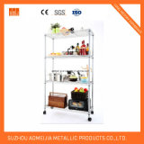 4 Tier Chrome Wire Display Stand with Wheels