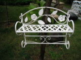 Antique White Wall Shelf with Towel Rack (PL08-5166)