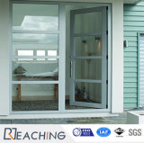 Economic Grill Design French UPVC Casement Glass Door