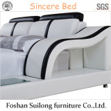 Modern Real Leather Modern Bed Bed Furniture 8002