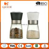 White Ceramic Core Glass Manual Salt and Pepper Mill