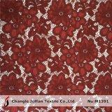 Wine Color Heavy Floral Lace Fabric (M1391)